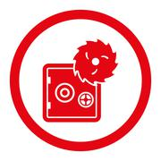 Hacking theft flat red color rounded glyph icon - stock illustration