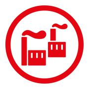 Stock Illustration of Industry flat red color rounded glyph icon