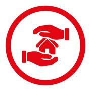 Stock Illustration of Realty insurance flat red color rounded glyph icon