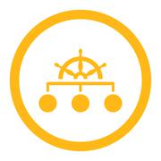 Rule flat yellow color rounded glyph icon - stock illustration