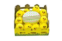 Yellow chickens and easter egg - stock photo