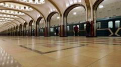 Subway train. Mayakovskaya station of the Moscow Metro. Stock Footage