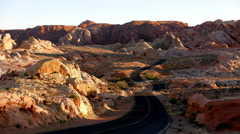 Long and winding road in the Valley of Fire National Park Stock Footage