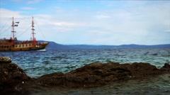 Ship's sailing along the rocky coast of Adriatic Sea in Croatia Stock Footage