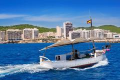Ibiza boats in San Antonio de Portmany bay - stock photo