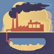 Factory building - air and soil pollution Stock Illustration