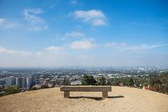 Place for relax. Bench in a beautiful location, Los Angeles, California - stock photo