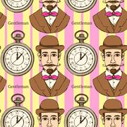 Sketch man in hat and pocket watch Piirros