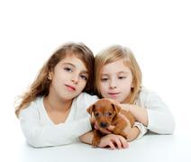 sister kid girls and puppy mascot mini pinscher - stock photo