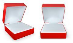 Red rectangular ring box, two views - stock illustration