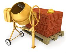 Clean new yellow concrete mixer with helmet and stack of bricks - stock illustration