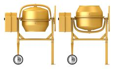 Clean new yellow concrete mixer with raised and lowered drum - stock illustration