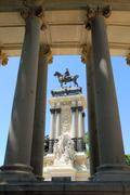 Alfonso XII monument Madrid in Retiro park - stock photo