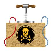 Bomb (detonation cabinet) with danger sign (skull symbol)  Stock Illustration