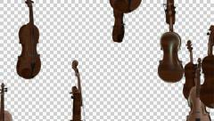 Falling Violins- Animation with alpha Stock Footage