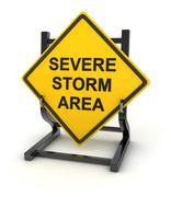 Road sign - severe storm area - stock illustration