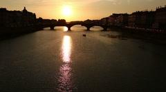 Gondola Trip on Arno River Stock Footage