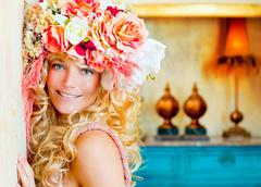 Stock Photo of baroque fashion blonde woman with flowers hat