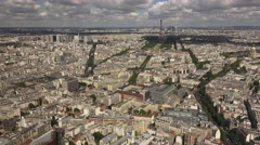 Aerial view of Paris (in 4K) from the Tour Montparnasse, Paris, France. - stock footage