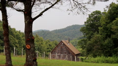 Stock Video Footage of rustic wooden shed appalachian mountains
