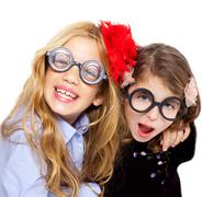 Nerd children girl group with funny glasses Stock Photos