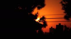 Sunrise city view. Sun rise, sunset, gold sun - stock footage