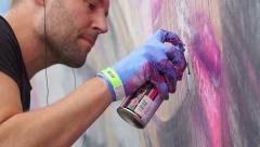 Particular of a hand painting mural in Bristol during the Upfest 2015 Stock Footage