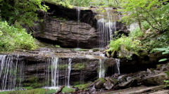 Stock Video Footage of water fall rocky cliff appalachian mountains