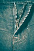 zip in jean retro vintage style - stock photo
