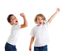 excited children kids happy screaming and winner gesture express - stock photo