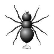 Black spider toy with key - stock illustration