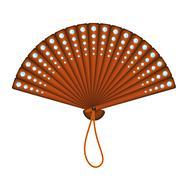 Wooden oriental fan with diamonds  Stock Illustration