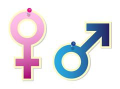Female and male sign - stock illustration