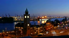 4K TL Germany Port of Hamburg Landing bridge Landungbrücke Elbe river night Stock Footage
