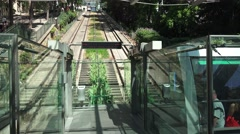 The Montmartre funicular (in 4k) departing, Paris, France. Stock Footage