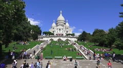 Stock Video Footage of The Basilica of Sacre Coeur (in 4k) in Paris, France.