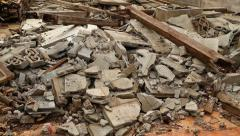Pile of rubble of a demolished building Stock Footage