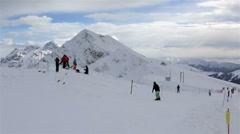 Panorama of mountains in Rosa Khutor Alpine Resort. Mountain view Gagra Range Stock Footage