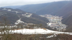 Infrastructure ski resort in the valley of river Mzymta Stock Footage