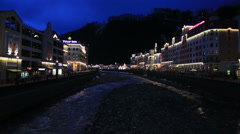 Night view of Rosa Valley in Rosa Khutor Alpine Resort - stock footage