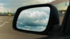 Side view of the mirror with storm clouds reflection. Time lapse capture Stock Footage