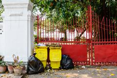 Rubbish full from all bins and garbage bags. Stock Photos