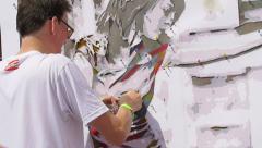 Street artist, graffiti art, mural art, street art Stock Footage