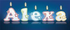 Stock Illustration of ALEXA written with burning candles