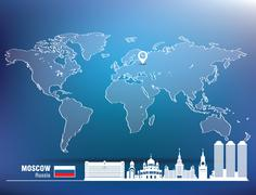 Map pin with Moscow skyline - stock illustration