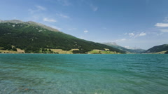 Lago di Resia, Reschensee in South Tyrol, Italy Stock Footage