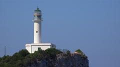 4K Aerial View Lighthouse Lefkada Greece, Tourist Landmark, Ships, Boats, Sea Stock Footage