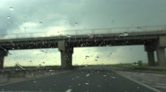 4K Driving Car Rainy Stormy Traffic Road Highway Windshield Auto Travelling View Stock Footage