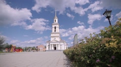 The appearance of the Church on a background of clouds in motion video in Fullhd Stock Footage