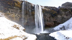 Waterfall Seljalandsfoss in Iceland, audio Stock Footage